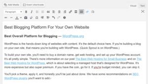 Postagem no blog WordPress