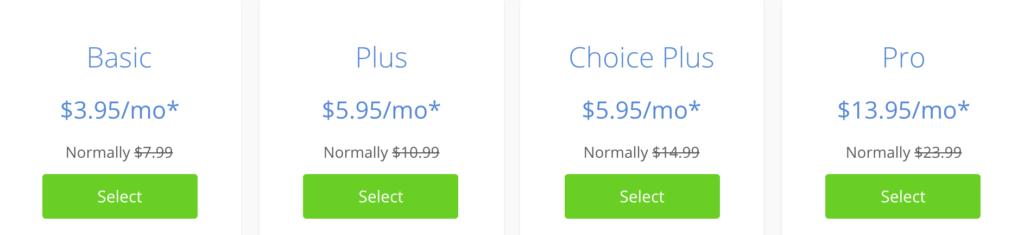 Bluehost Shared Plans obtenir un nom de domaine gratuit