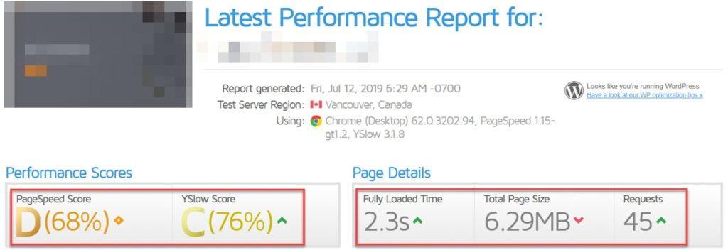 Rapport de performance après la fusée Wp