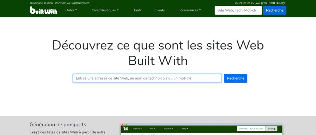 moteur de recherche builtwith